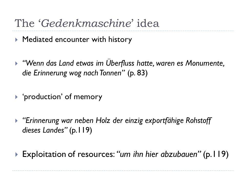 The Gedenkmaschine idea Mediated encounter with history Wenn das Land etwas im Überfluss hatte, waren es Monumente, die Erinnerung wog nach Tonnen (p.