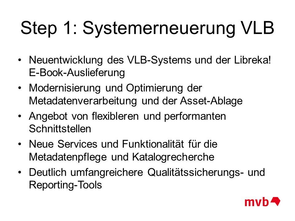 Step 1: Systemerneuerung VLB Neuentwicklung des VLB-Systems und der Libreka! E-Book-Auslieferung Modernisierung und Optimierung der Metadatenverarbeit
