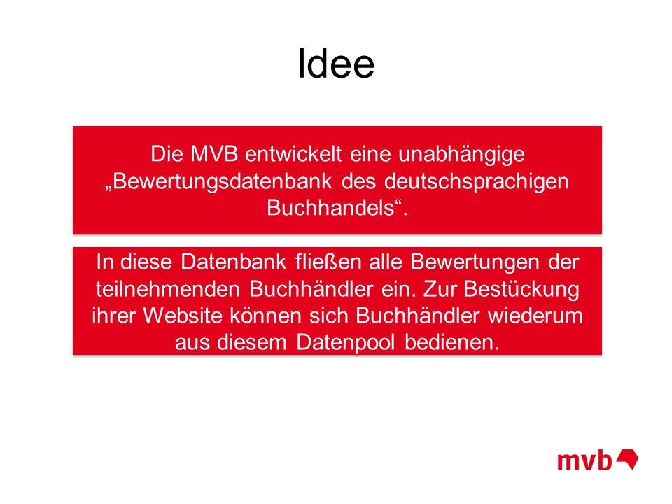 Idee Die MVB entwickelt eine unabhängige Bewertungsdatenbank des deutschsprachigen Buchhandels. In diese Datenbank fließen alle Bewertungen der teilne