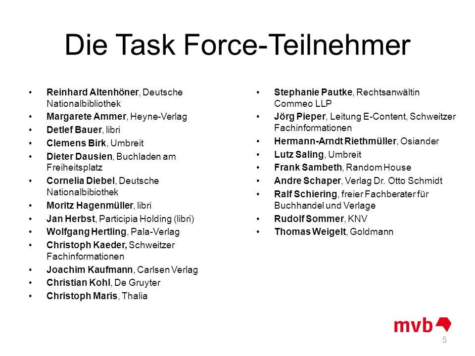 Die Task Force-Teilnehmer Reinhard Altenhöner, Deutsche Nationalbibliothek Margarete Ammer, Heyne-Verlag Detlef Bauer, libri Clemens Birk, Umbreit Die