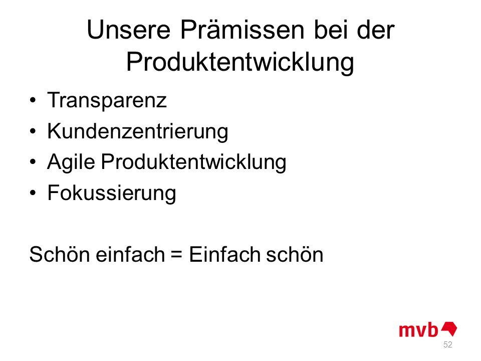 Unsere Prämissen bei der Produktentwicklung Transparenz Kundenzentrierung Agile Produktentwicklung Fokussierung Schön einfach = Einfach schön 52