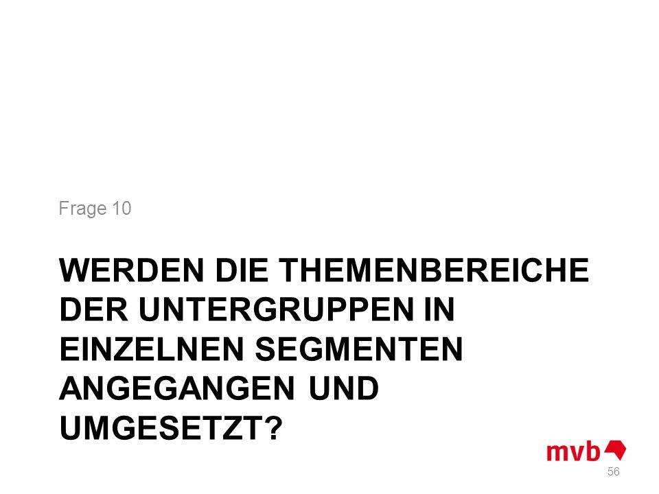 WERDEN DIE THEMENBEREICHE DER UNTERGRUPPEN IN EINZELNEN SEGMENTEN ANGEGANGEN UND UMGESETZT? Frage 10 56