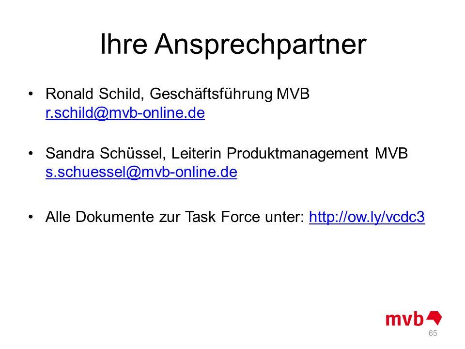 Ihre Ansprechpartner Ronald Schild, Geschäftsführung MVB r.schild@mvb-online.de r.schild@mvb-online.de Sandra Schüssel, Leiterin Produktmanagement MVB