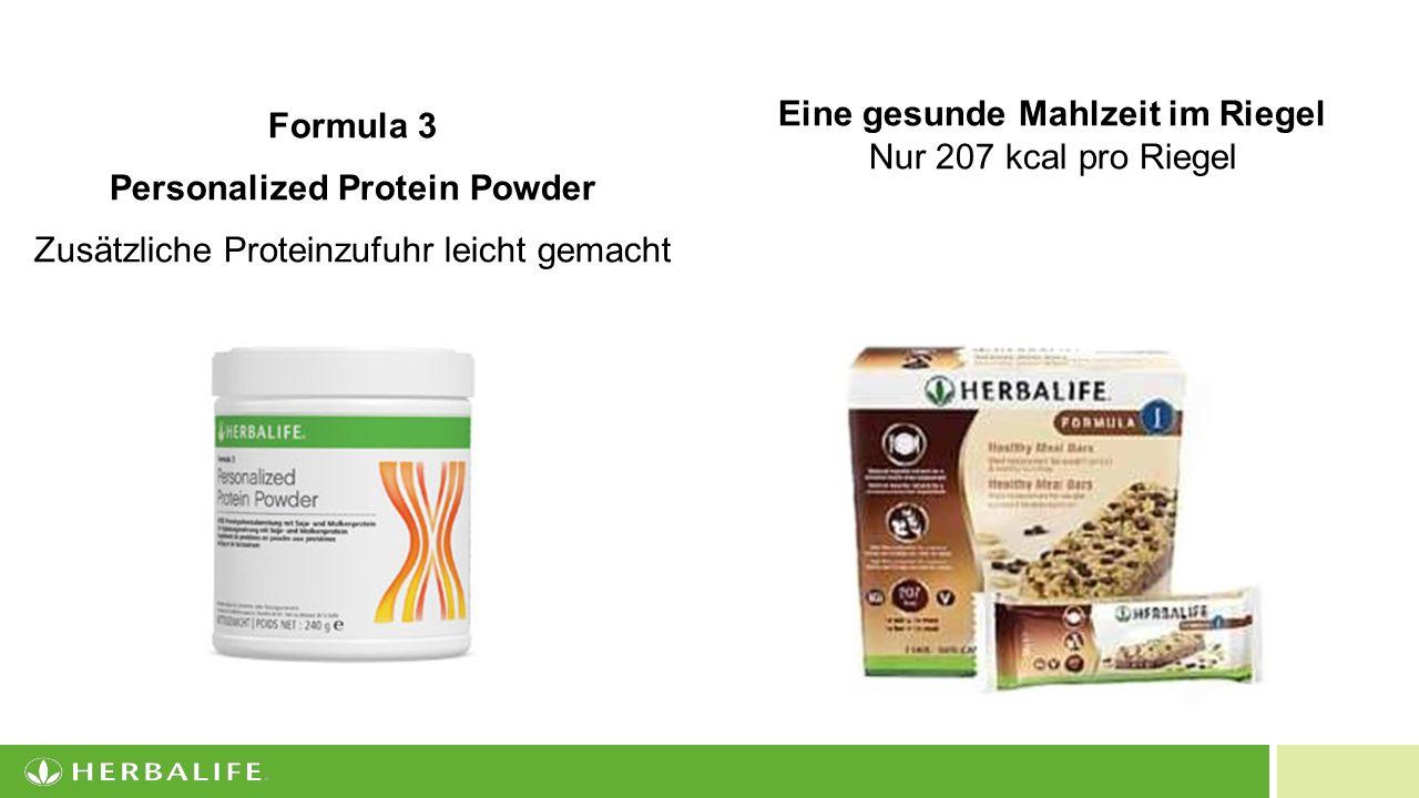 13 Eine gesunde Mahlzeit im Riegel Nur 207 kcal pro Riegel Formula 3 Personalized Protein Powder Zusätzliche Proteinzufuhr leicht gemacht