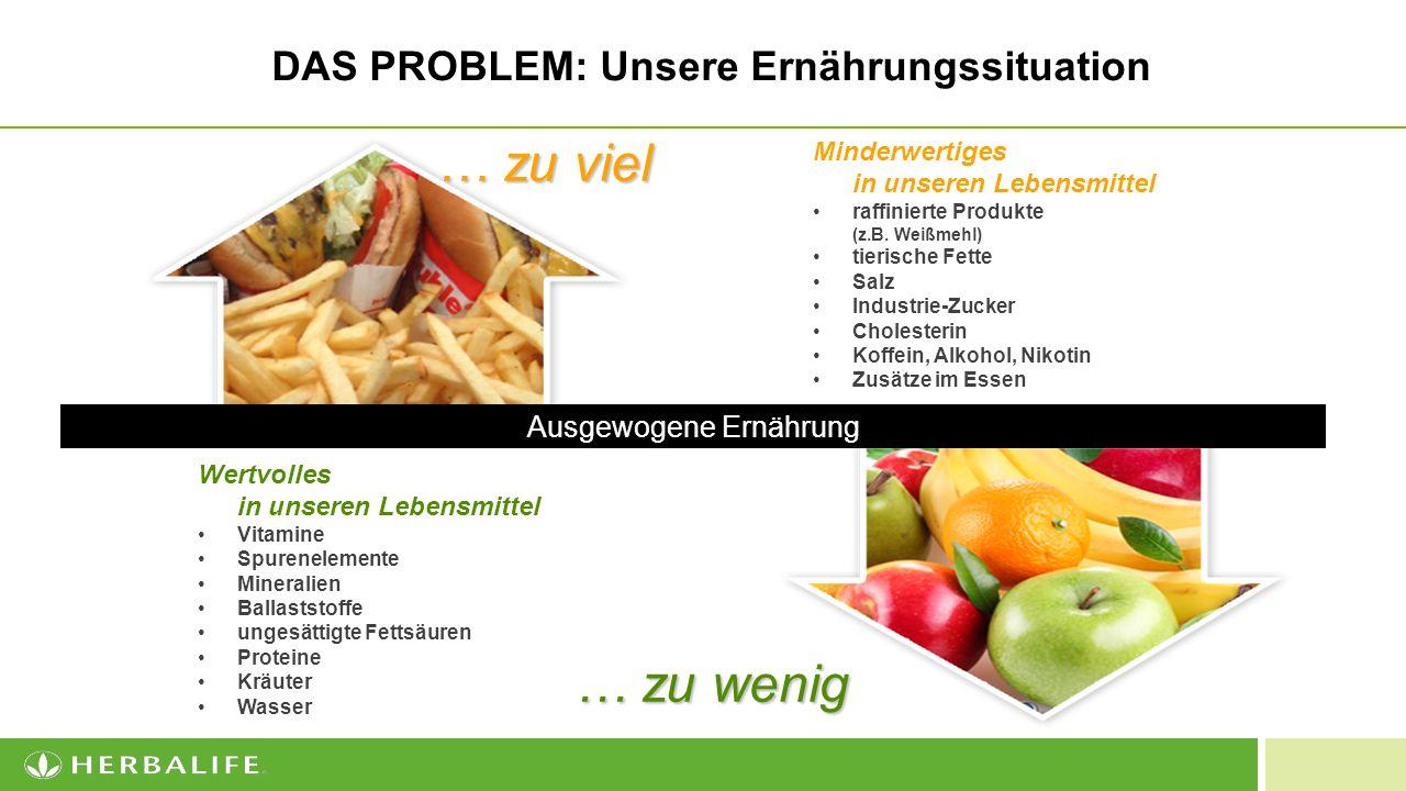 3 DAS PROBLEM: Unsere Ernährungssituation … zu viel minderwertige Lebensmittel raffinierte Produkte (z.B.