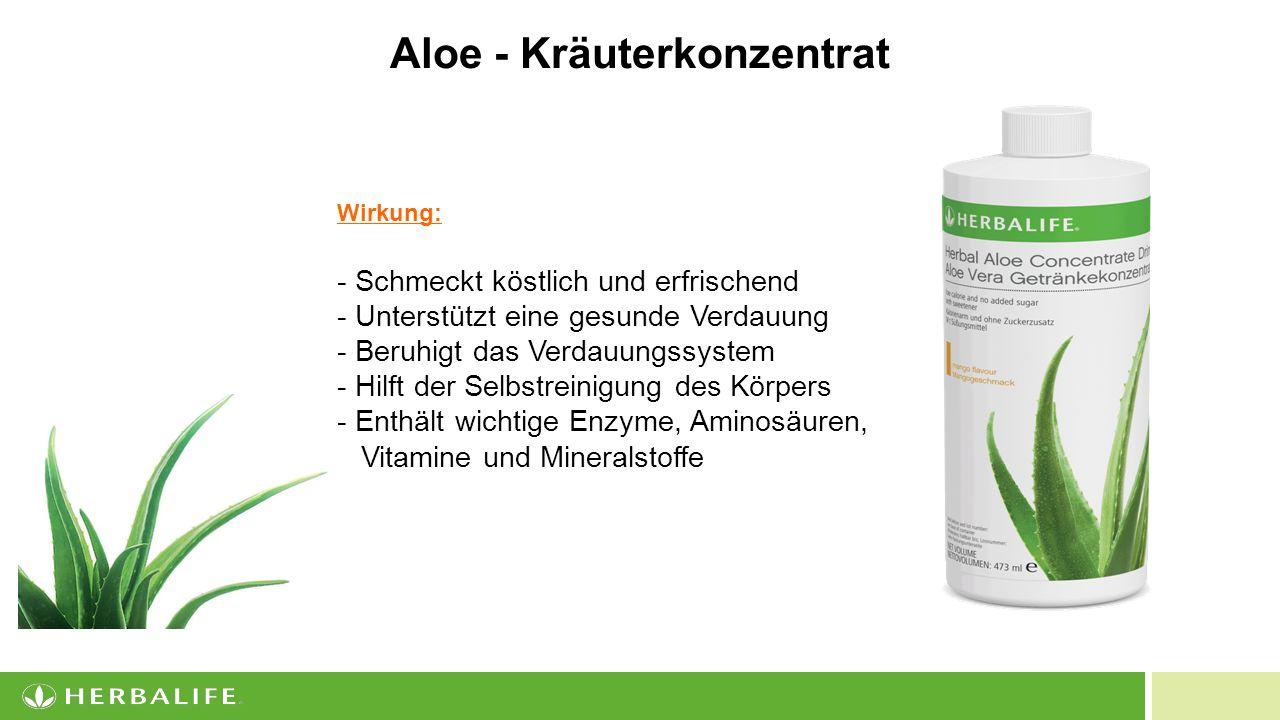 9 Wirkung: - Schmeckt köstlich und erfrischend - Unterstützt eine gesunde Verdauung - Beruhigt das Verdauungssystem - Hilft der Selbstreinigung des Körpers - Enthält wichtige Enzyme, Aminosäuren, Vitamine und Mineralstoffe Aloe - Kräuterkonzentrat