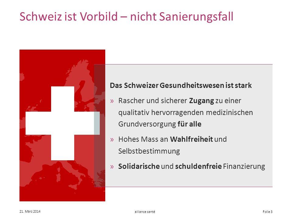 alliance santé 21. März 2014 Folie 3 Schweiz ist Vorbild – nicht Sanierungsfall Das Schweizer Gesundheitswesen ist stark »Rascher und sicherer Zugang