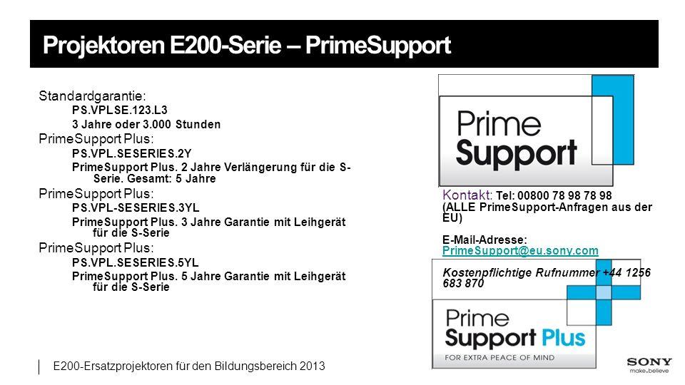 E200-Ersatzprojektoren für den Bildungsbereich 2013 Projektoren E200-Serie – PrimeSupport Standardgarantie: PS.VPLSE.123.L3 3 Jahre oder 3.000 Stunden