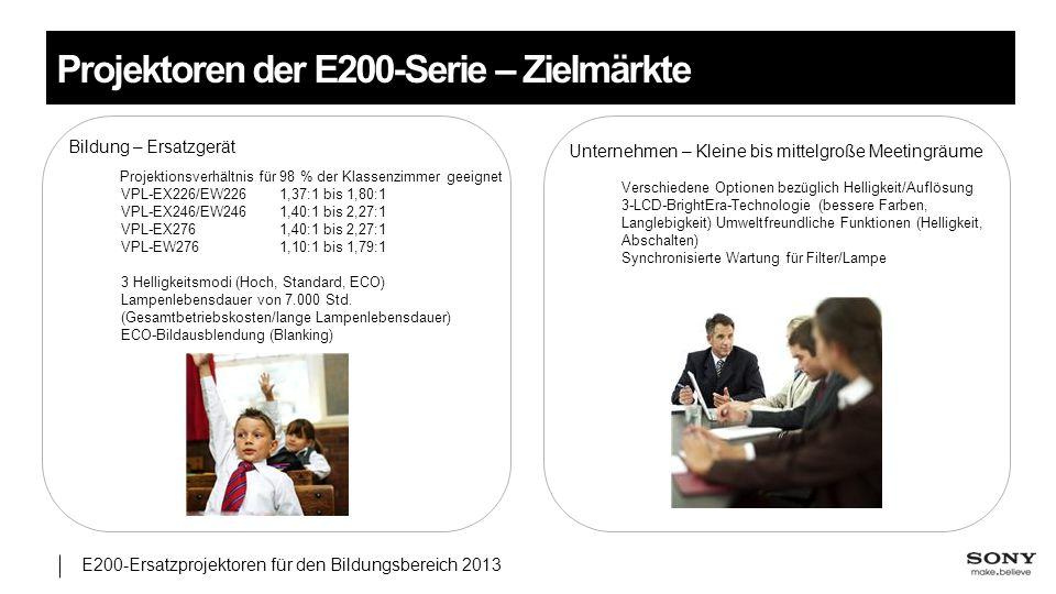 E200-Ersatzprojektoren für den Bildungsbereich 2013 Projektoren der E200-Serie – Zielmärkte Bildung – Ersatzgerät Projektionsverhältnis für 98 % der K