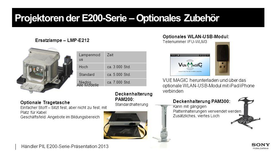 Händler PIL E200-Serie-Präsentation 2013 Projektoren der E200-Serie – Optionales Zubehör Ersatzlampe – LMP-E212 Lampenmod us Zeit Hochca. 3.000 Std. S