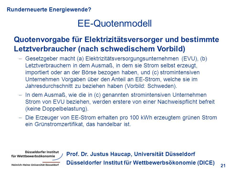 Runderneuerte Energiewende? 21 Prof. Dr. Justus Haucap, Universität Düsseldorf Düsseldorfer Institut für Wettbewerbsökonomie (DICE) Quotenvorgabe für
