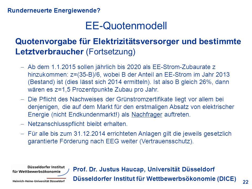 Runderneuerte Energiewende? 22 Prof. Dr. Justus Haucap, Universität Düsseldorf Düsseldorfer Institut für Wettbewerbsökonomie (DICE) Quotenvorgabe für