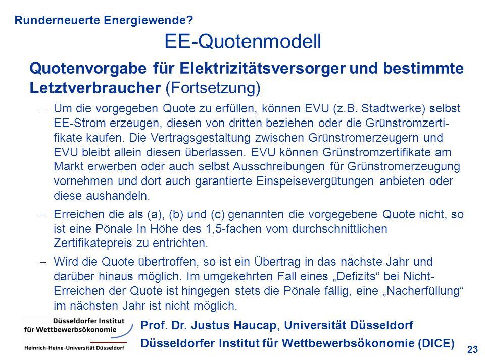 Runderneuerte Energiewende? 23 Prof. Dr. Justus Haucap, Universität Düsseldorf Düsseldorfer Institut für Wettbewerbsökonomie (DICE) Quotenvorgabe für