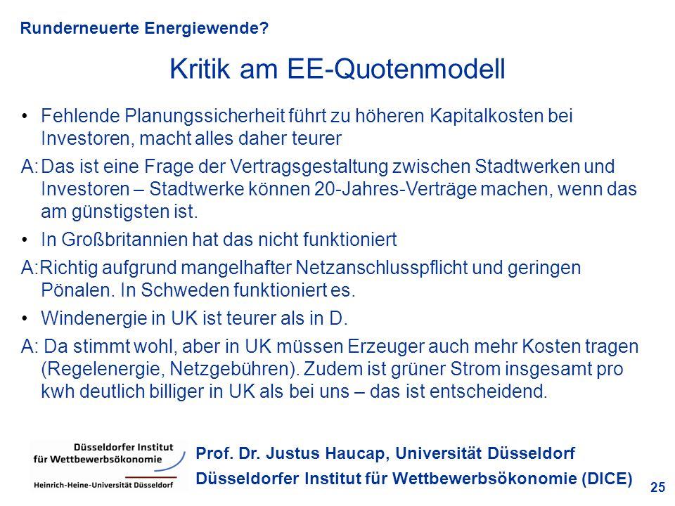 Runderneuerte Energiewende? 25 Prof. Dr. Justus Haucap, Universität Düsseldorf Düsseldorfer Institut für Wettbewerbsökonomie (DICE) Fehlende Planungss
