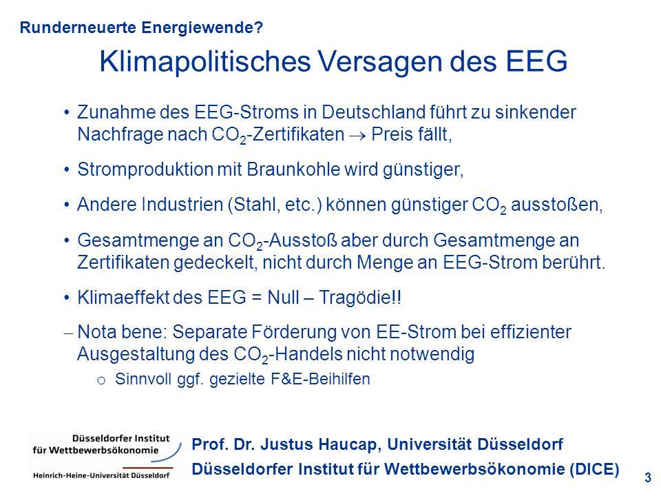 Runderneuerte Energiewende? 3 Prof. Dr. Justus Haucap, Universität Düsseldorf Düsseldorfer Institut für Wettbewerbsökonomie (DICE) Klimapolitisches Ve