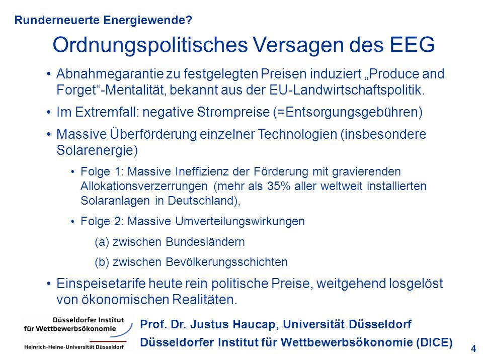 Runderneuerte Energiewende? 4 Prof. Dr. Justus Haucap, Universität Düsseldorf Düsseldorfer Institut für Wettbewerbsökonomie (DICE) Ordnungspolitisches