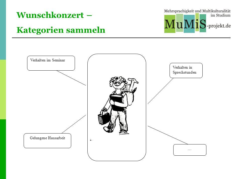 Wunschkonzert – Kategorien sammeln Verhalten im Seminar Gelungene Hausarbeit Verhalten in Sprechstunden …