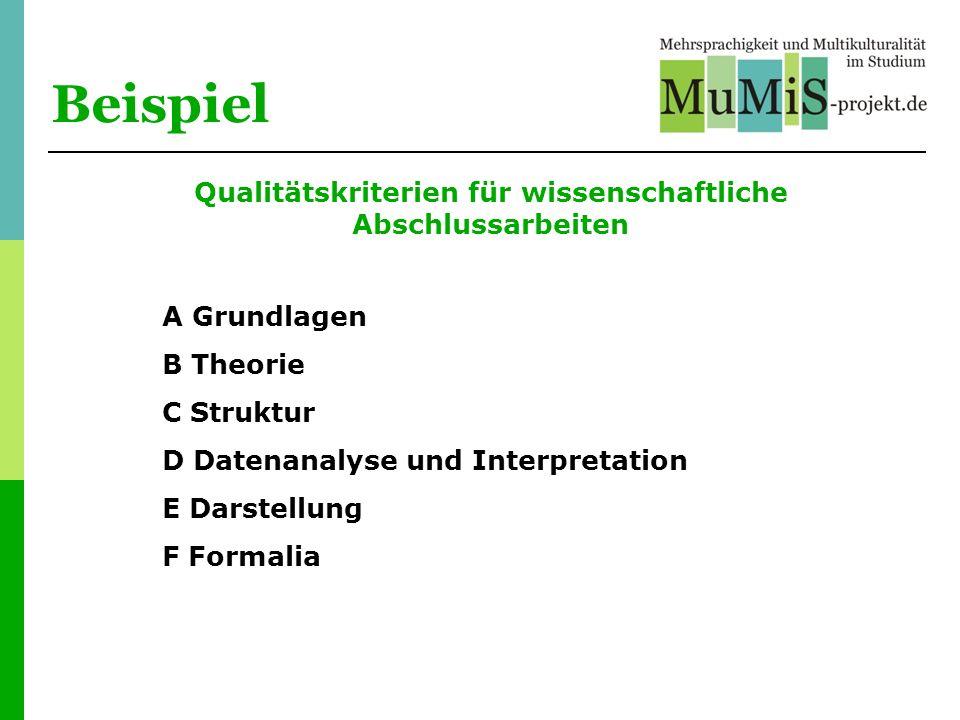Beispiel Qualitätskriterien für wissenschaftliche Abschlussarbeiten A Grundlagen B Theorie C Struktur D Datenanalyse und Interpretation E Darstellung
