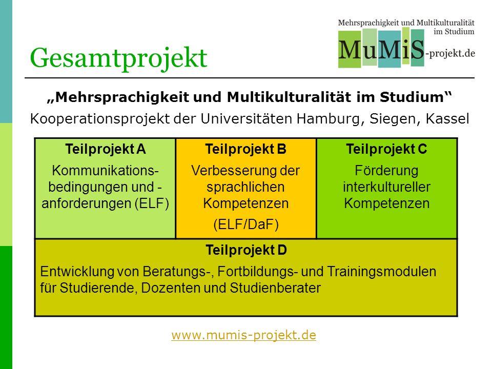 Gesamtprojekt Mehrsprachigkeit und Multikulturalität im Studium Kooperationsprojekt der Universitäten Hamburg, Siegen, Kassel Teilprojekt A Kommunikat