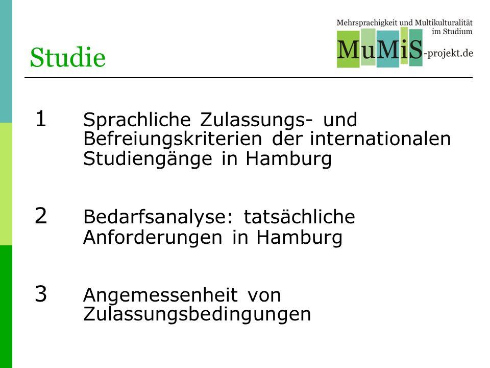Studie 1 Sprachliche Zulassungs- und Befreiungskriterien der internationalen Studiengänge in Hamburg 2 Bedarfsanalyse: tatsächliche Anforderungen in H