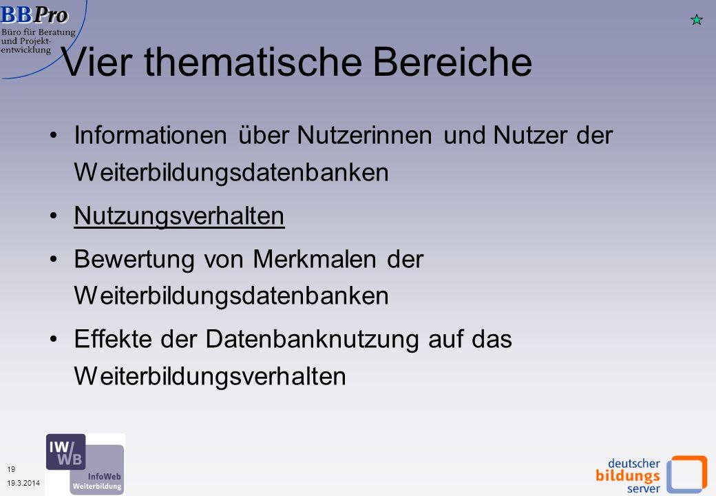 19 19.3.2014 Vier thematische Bereiche Informationen über Nutzerinnen und Nutzer der Weiterbildungsdatenbanken Nutzungsverhalten Bewertung von Merkmal