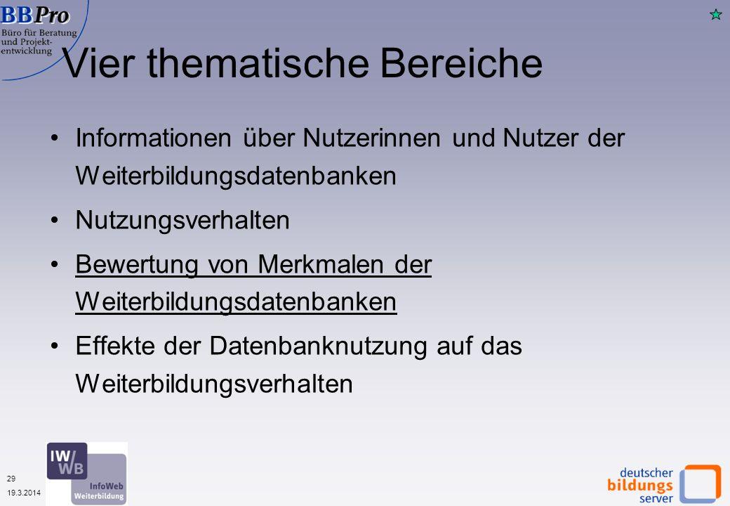 29 19.3.2014 Vier thematische Bereiche Informationen über Nutzerinnen und Nutzer der Weiterbildungsdatenbanken Nutzungsverhalten Bewertung von Merkmal