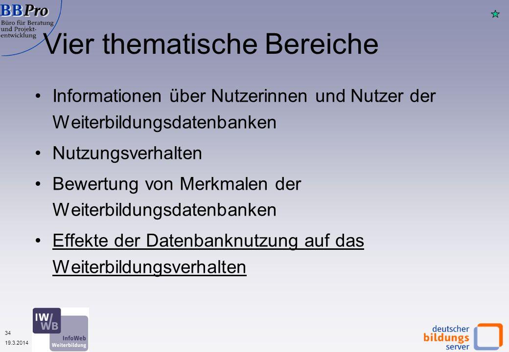 34 19.3.2014 Vier thematische Bereiche Informationen über Nutzerinnen und Nutzer der Weiterbildungsdatenbanken Nutzungsverhalten Bewertung von Merkmal