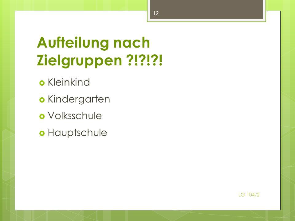 Aufteilung nach Zielgruppen ! ! ! Kleinkind Kindergarten Volksschule Hauptschule 12 LG 104/2