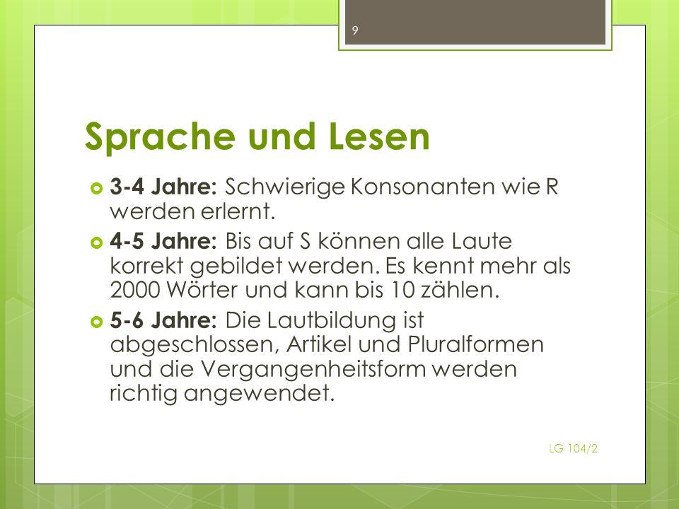 Sprache und Lesen LG 104/2 9 3-4 Jahre: Schwierige Konsonanten wie R werden erlernt.