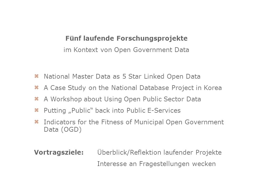 National Master Data as 5 Star Linked Open Data A Case Study on the National Database Project in Korea A Workshop about Using Open Public Sector Data