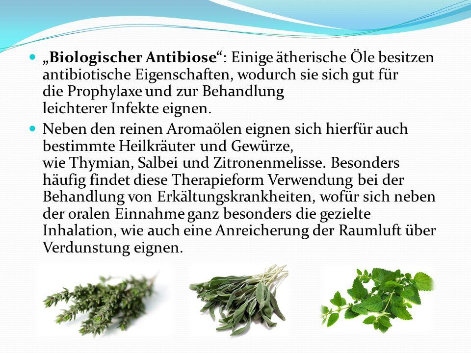 Biologischer Antibiose: Einige ätherische Öle besitzen antibiotische Eigenschaften, wodurch sie sich gut für die Prophylaxe und zur Behandlung leichte