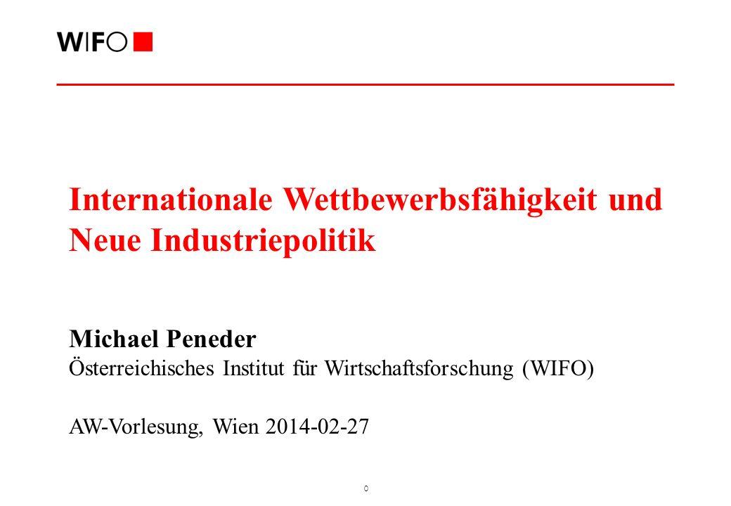 0 Internationale Wettbewerbsfähigkeit und Neue Industriepolitik Michael Peneder Österreichisches Institut für Wirtschaftsforschung (WIFO) AW-Vorlesung, Wien 2014-02-27