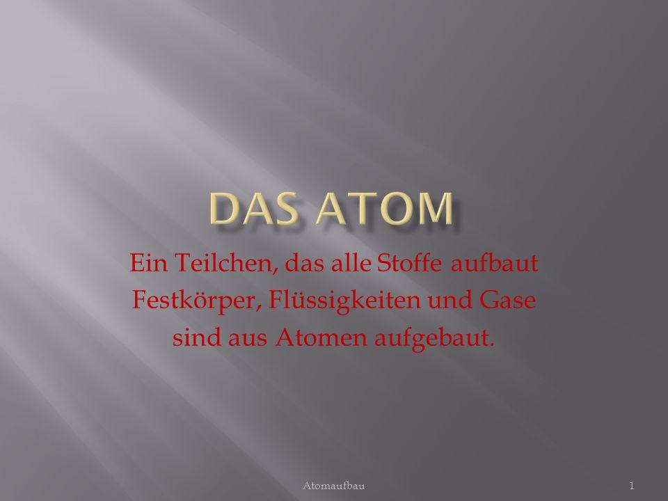 Ein Teilchen, das alle Stoffe aufbaut Festkörper, Flüssigkeiten und Gase sind aus Atomen aufgebaut. 1Atomaufbau