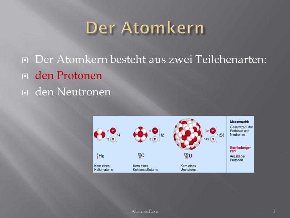 Der Atomkern besteht aus zwei Teilchenarten: den Protonen den Neutronen 3Atomaufbau