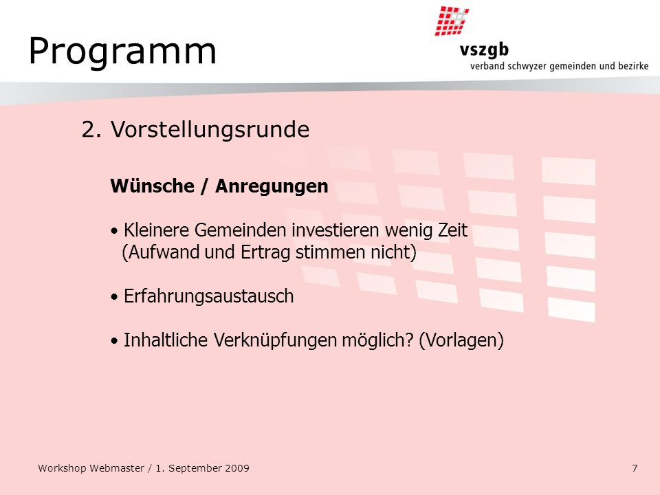 Programm 2. Vorstellungsrunde Workshop Webmaster / 1.