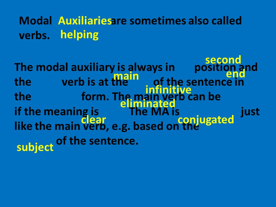 The modal auxiliary is always in position and the verb is at the of the sentence in the form. The main verb can be if the meaning is The MA is just li