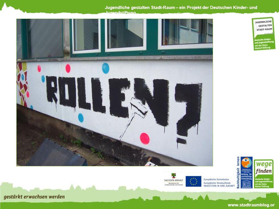 Jugendliche gestalten Stadt-Raum – ein Projekt der Deutschen Kinder- und Jugendstiftung www.stadtraumblog.or g Jugendliche gestalten einen Stadtplan, der Perspektiven integrierend Wissen aufbaut.