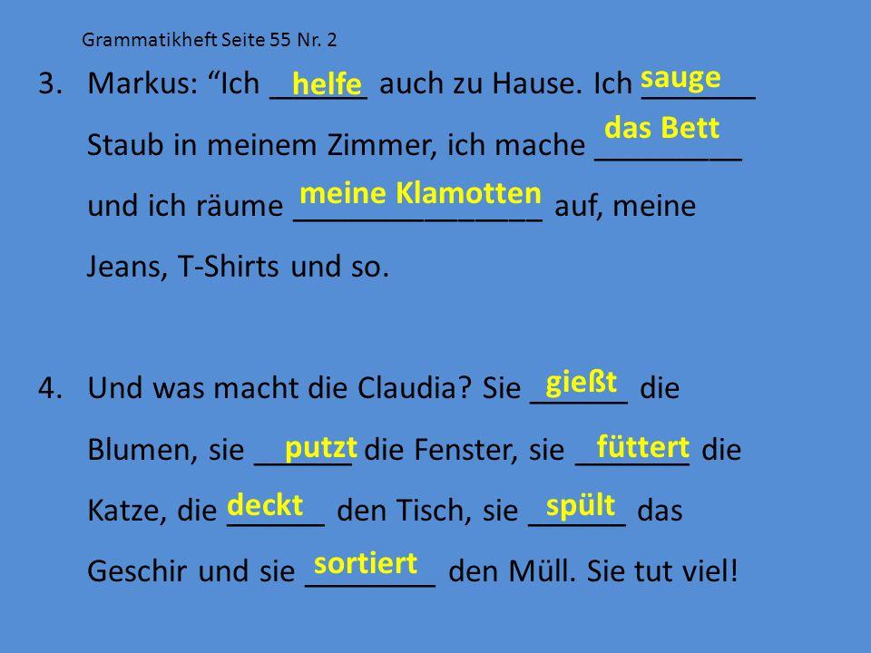 Grammatikheft Seite 55 Nr. 2 3.Markus: Ich ______ auch zu Hause. Ich _______ Staub in meinem Zimmer, ich mache _________ und ich räume _______________