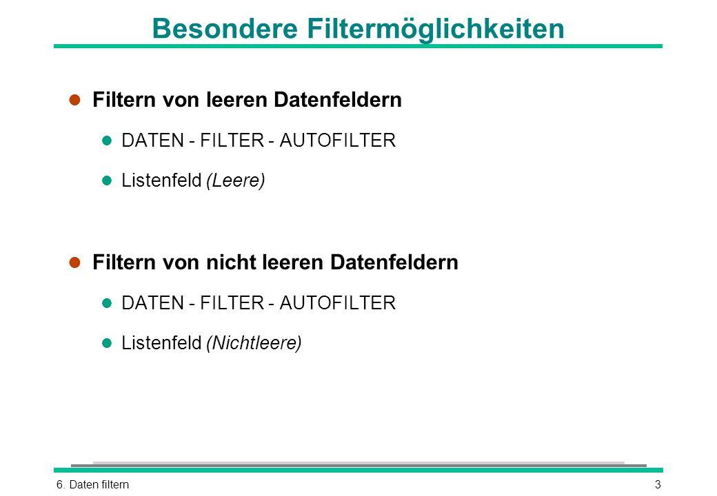 6. Daten filtern3 Besondere Filtermöglichkeiten l Filtern von leeren Datenfeldern l DATEN - FILTER - AUTOFILTER l Listenfeld (Leere) l Filtern von nic