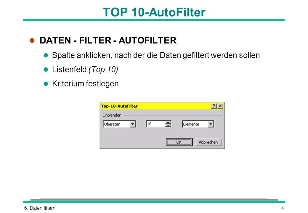 6. Daten filtern4 TOP 10-AutoFilter l DATEN - FILTER - AUTOFILTER l Spalte anklicken, nach der die Daten gefiltert werden sollen l Listenfeld (Top 10)