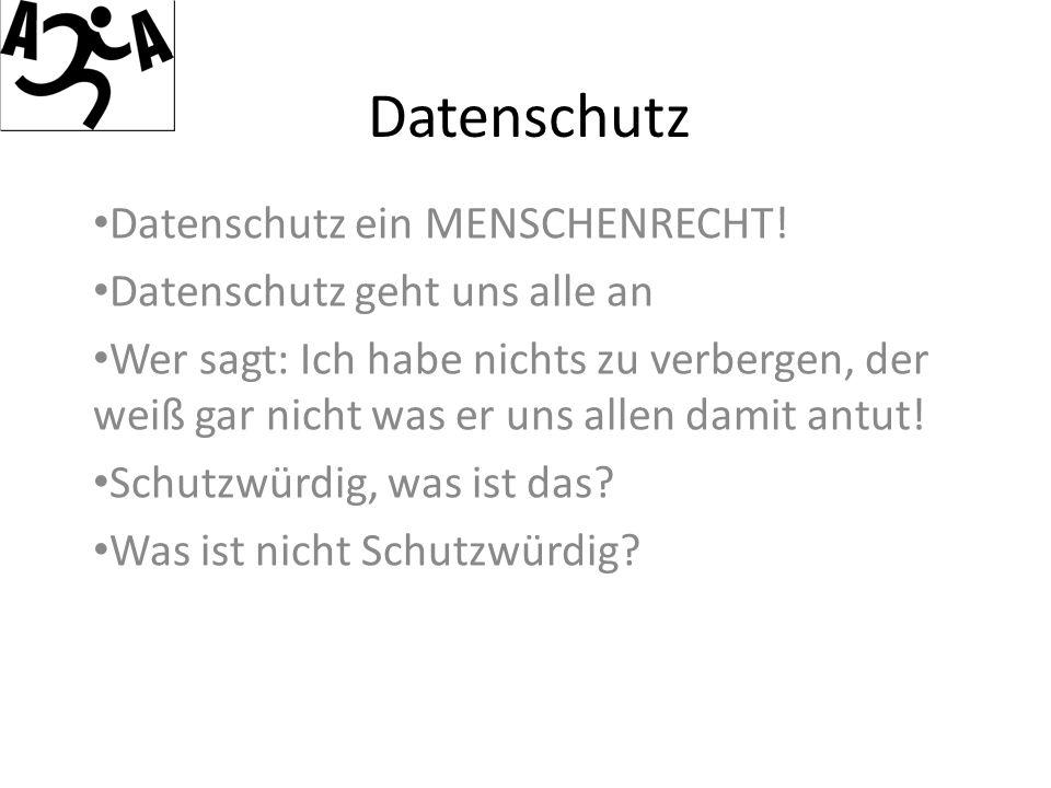 Datenschutz Datenschutz ein MENSCHENRECHT.