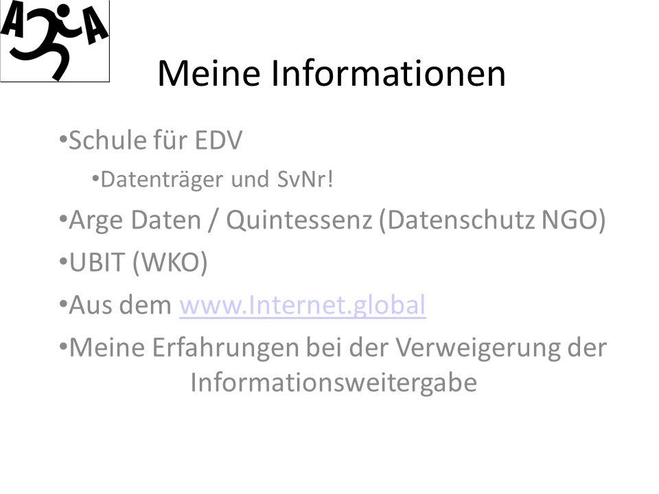 Meine Informationen Schule für EDV Datenträger und SvNr.