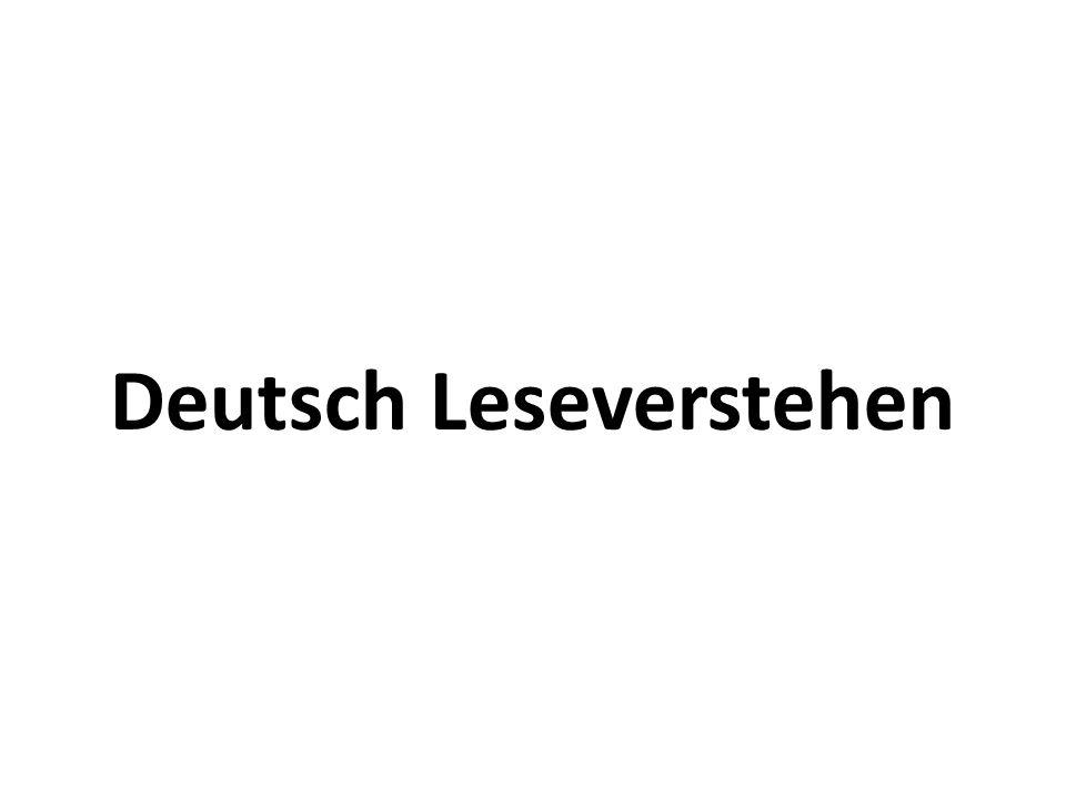Deutsch Leseverstehen