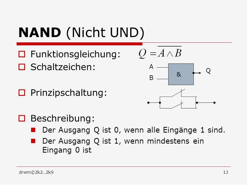 drwm©2k2..2k913 NAND (Nicht UND) Funktionsgleichung: Schaltzeichen: Prinzipschaltung: Beschreibung: Der Ausgang Q ist 0, wenn alle Eingänge 1 sind. De