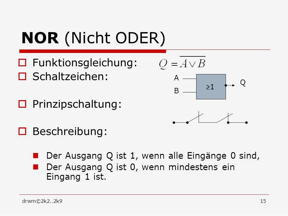 drwm©2k2..2k915 NOR (Nicht ODER) Funktionsgleichung: Schaltzeichen: Prinzipschaltung: Beschreibung: Der Ausgang Q ist 1, wenn alle Eingänge 0 sind, Der Ausgang Q ist 0, wenn mindestens ein Eingang 1 ist.