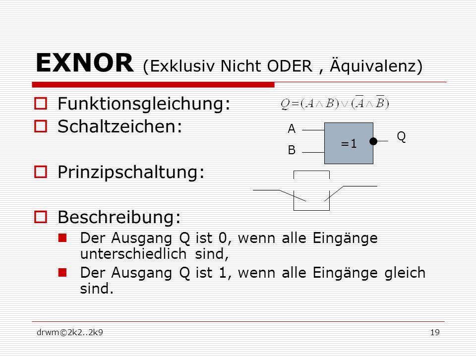 drwm©2k2..2k919 EXNOR (Exklusiv Nicht ODER, Äquivalenz) Funktionsgleichung: Schaltzeichen: Prinzipschaltung: Beschreibung: Der Ausgang Q ist 0, wenn a