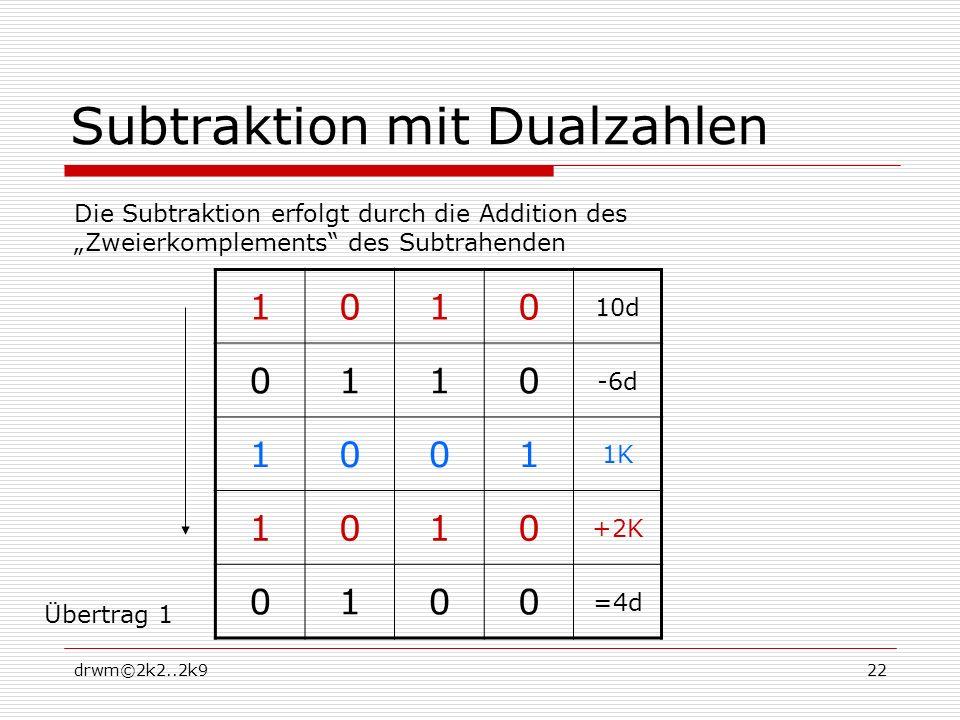 drwm©2k2..2k922 Subtraktion mit Dualzahlen 1010 10d 0110 -6d 1001 1K 1010 +2K 0100 =4d Die Subtraktion erfolgt durch die Addition des Zweierkomplements des Subtrahenden Übertrag 1