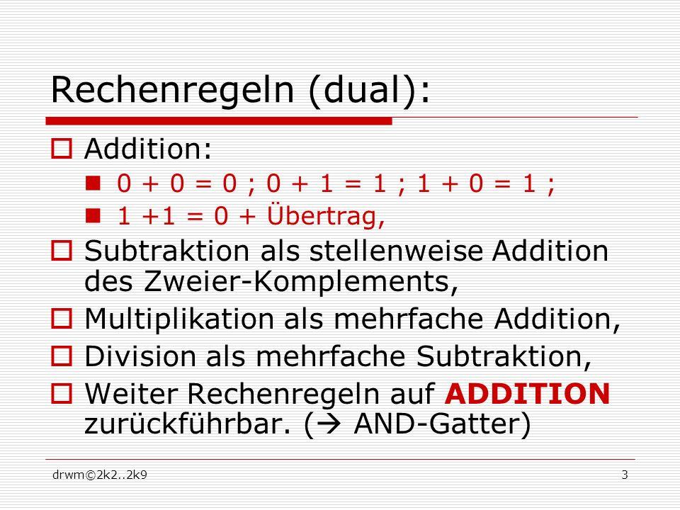 drwm©2k2..2k93 Rechenregeln (dual): Addition: 0 + 0 = 0 ; 0 + 1 = 1 ; 1 + 0 = 1 ; 1 +1 = 0 + Übertrag, Subtraktion als stellenweise Addition des Zweier-Komplements, Multiplikation als mehrfache Addition, Division als mehrfache Subtraktion, Weiter Rechenregeln auf ADDITION zurückführbar.
