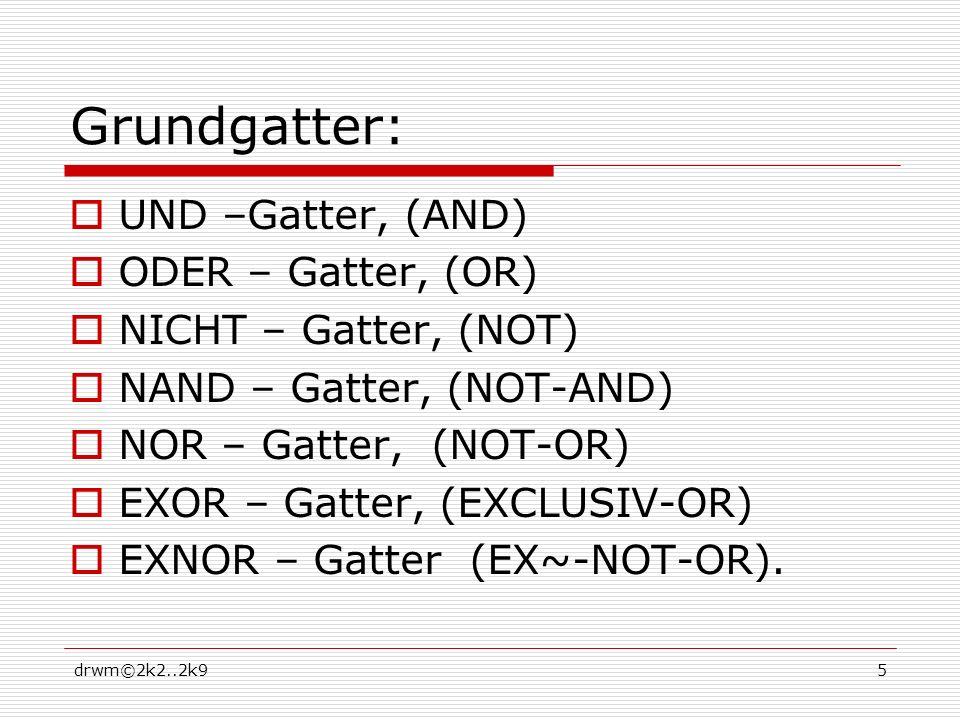 drwm©2k2..2k95 Grundgatter: UND –Gatter, (AND) ODER – Gatter, (OR) NICHT – Gatter, (NOT) NAND – Gatter, (NOT-AND) NOR – Gatter, (NOT-OR) EXOR – Gatter, (EXCLUSIV-OR) EXNOR – Gatter (EX~-NOT-OR).