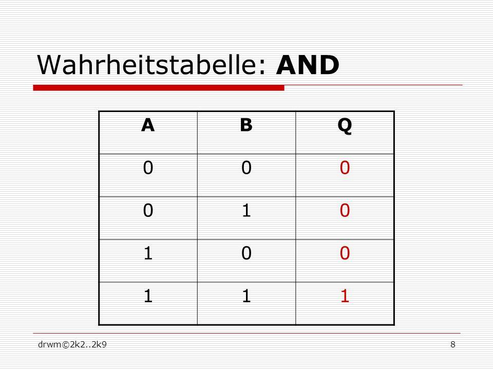 drwm©2k2..2k919 EXNOR (Exklusiv Nicht ODER, Äquivalenz) Funktionsgleichung: Schaltzeichen: Prinzipschaltung: Beschreibung: Der Ausgang Q ist 0, wenn alle Eingänge unterschiedlich sind, Der Ausgang Q ist 1, wenn alle Eingänge gleich sind.